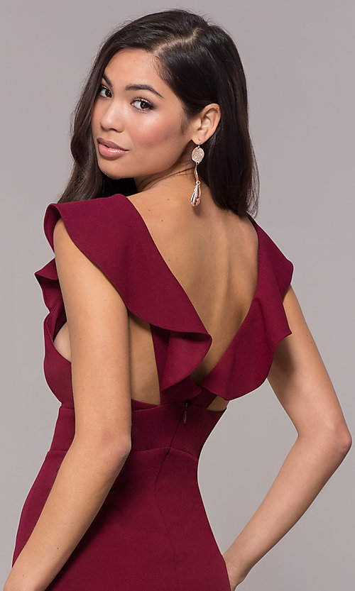 Image of long prom dress with ruffle-trimmed deep v-neckline. Style: JU-10982 Detail Image 2