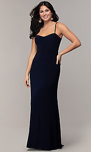 Image of empire-waist sweetheart long formal dress with train. Style: JU-11143 Detail Image 3