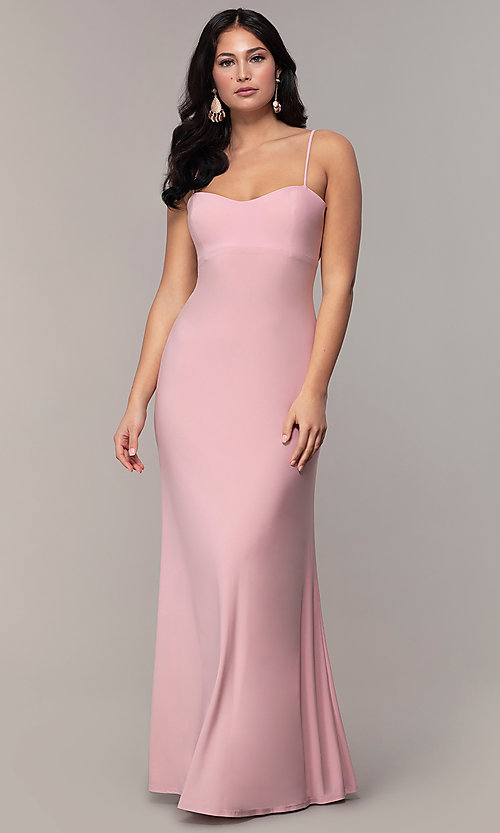 Image of empire-waist sweetheart long formal dress with train. Style: JU-11143 Detail Image 4