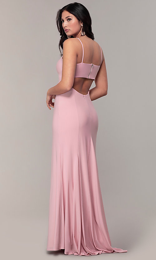 Image of empire-waist sweetheart long formal dress with train. Style: JU-11143 Back Image