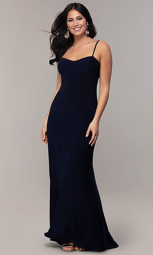 Image of empire-waist sweetheart long formal dress with train. Style: JU-11143 Front Image