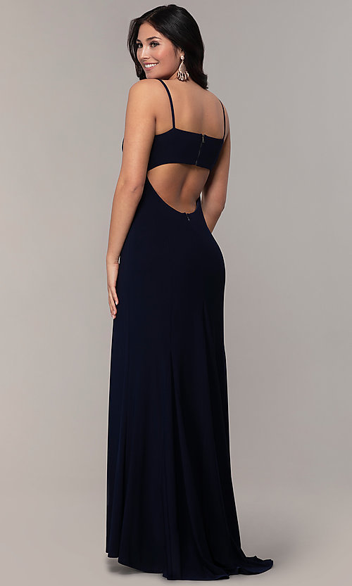 Image of empire-waist sweetheart long formal dress with train. Style: JU-11143 Detail Image 5