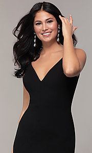Image of long formal black dress with v-neckline. Style: JU-11161 Detail Image 1