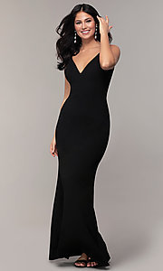 Image of long formal black dress with v-neckline. Style: JU-11161 Detail Image 3