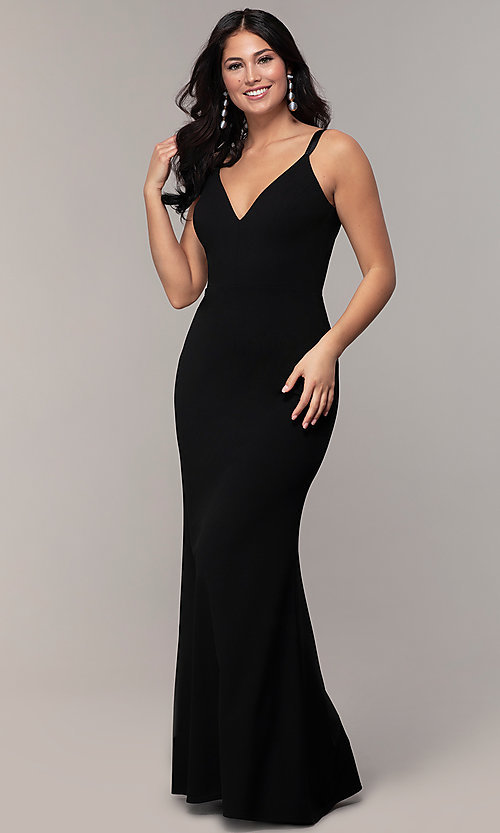 Image of long formal black dress with v-neckline. Style: JU-11161 Back Image