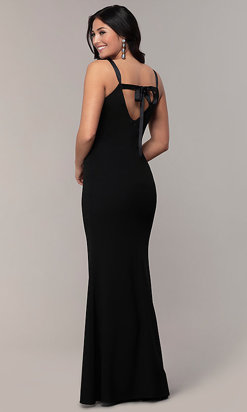 Image of long formal black dress with v-neckline. Style: JU-11161 Front Image