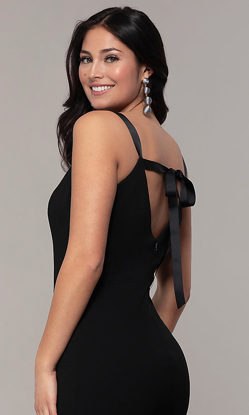 Image of long formal black dress with v-neckline. Style: JU-11161 Detail Image 2