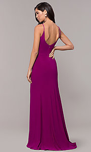 Image of long v-neck simple prom dress with open back. Style: JU-10695b Detail Image 5
