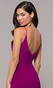 Image of long v-neck simple prom dress with open back. Style: JU-10695b Detail Image 7