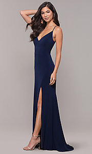 Image of long v-neck simple prom dress with open back. Style: JU-10695b Front Image