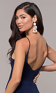 Image of long v-neck simple prom dress with open back. Style: JU-10695b Detail Image 2
