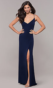 Image of long v-neck simple prom dress with open back. Style: JU-10695b Detail Image 3
