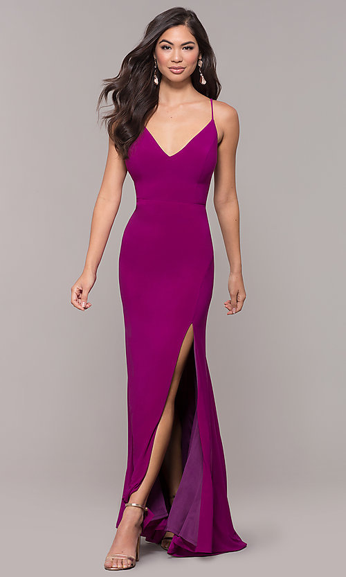 Image of long v-neck simple prom dress with open back. Style: JU-10695b Detail Image 4