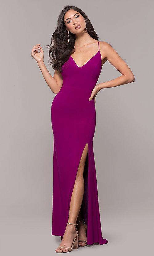 Image of long v-neck simple prom dress with open back. Style: JU-10695b Detail Image 8