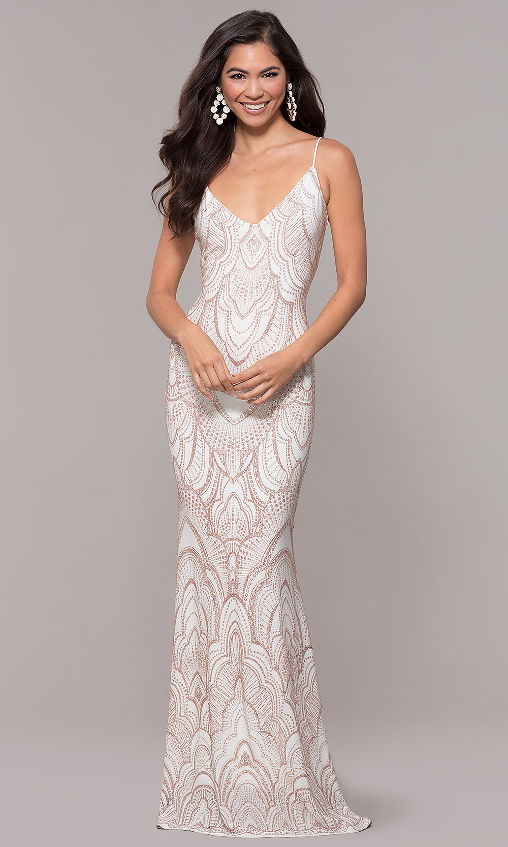 Image of long v-neck vintage-inspired formal evening dress. Style  JU. Tap  to expand bfc2177ae