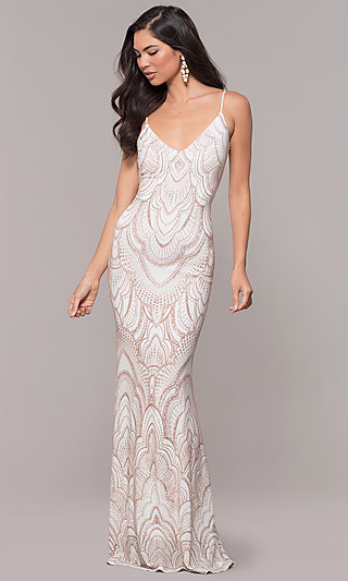 Long V-Neck Vintage-Inspired Formal Evening Dress