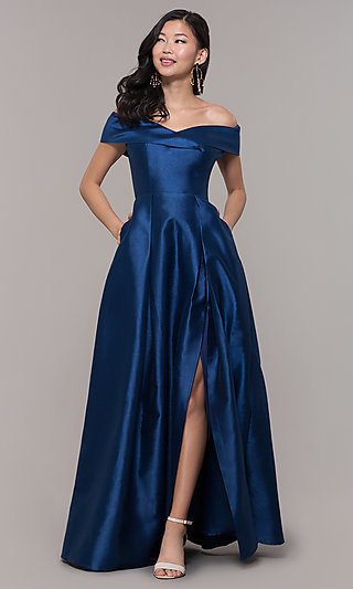 Long Off-the-Shoulder Formal Gown with Pockets