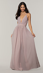 Image of v-neck long chiffon prom dress with open back. Style: LP-PL-25332 Detail Image 7