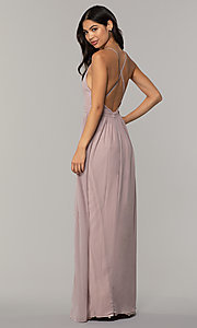Image of v-neck long chiffon prom dress with open back. Style: LP-PL-25332 Detail Image 5
