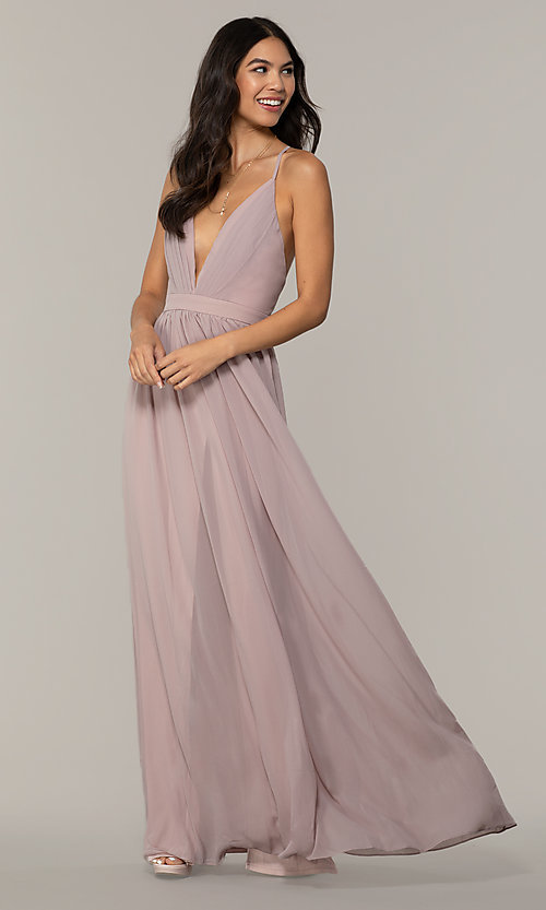 Image of v-neck long chiffon prom dress with open back. Style: LP-PL-25332 Detail Image 4