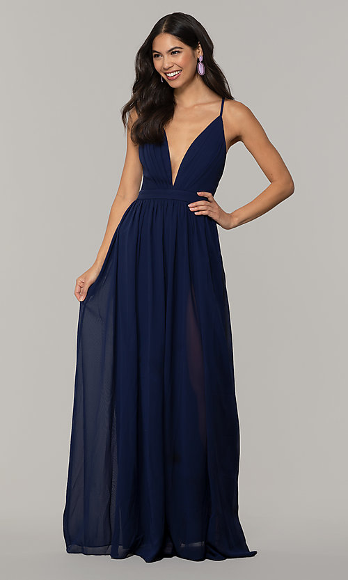 Image of v-neck long chiffon prom dress with open back. Style: LP-PL-25332 Front Image