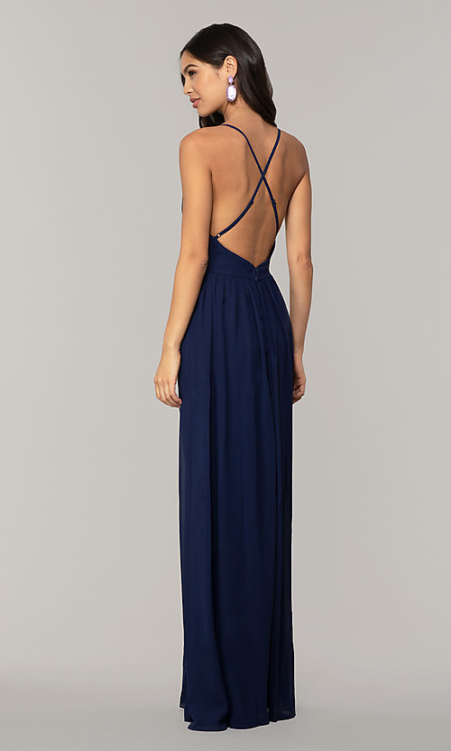 Image of v-neck long chiffon prom dress with open back. Style: LP-PL-25332 Back Image
