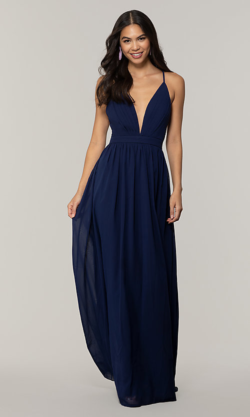 Image of v-neck long chiffon prom dress with open back. Style: LP-PL-25332 Detail Image 3