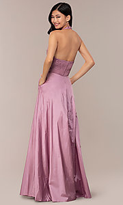 Image of lace-bodice halter long prom dress with pockets. Style: LP-PL-25876 Detail Image 5