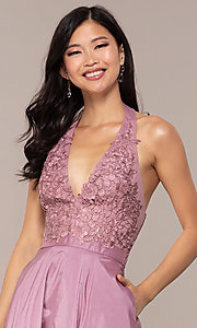Image of lace-bodice halter long prom dress with pockets. Style: LP-PL-25876 Detail Image 6