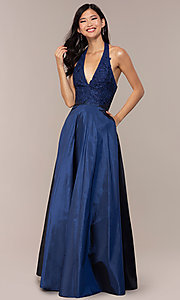 Image of lace-bodice halter long prom dress with pockets. Style: LP-PL-25876 Front Image