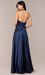Image of lace-bodice halter long prom dress with pockets. Style: LP-PL-25876 Back Image