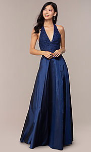 Image of lace-bodice halter long prom dress with pockets. Style: LP-PL-25876 Detail Image 3