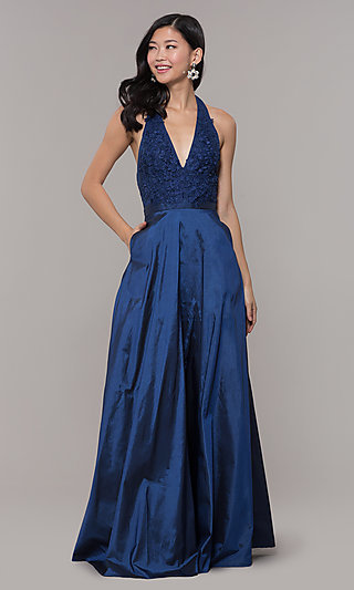 Lace-Bodice Halter Long Prom Dress with Pockets