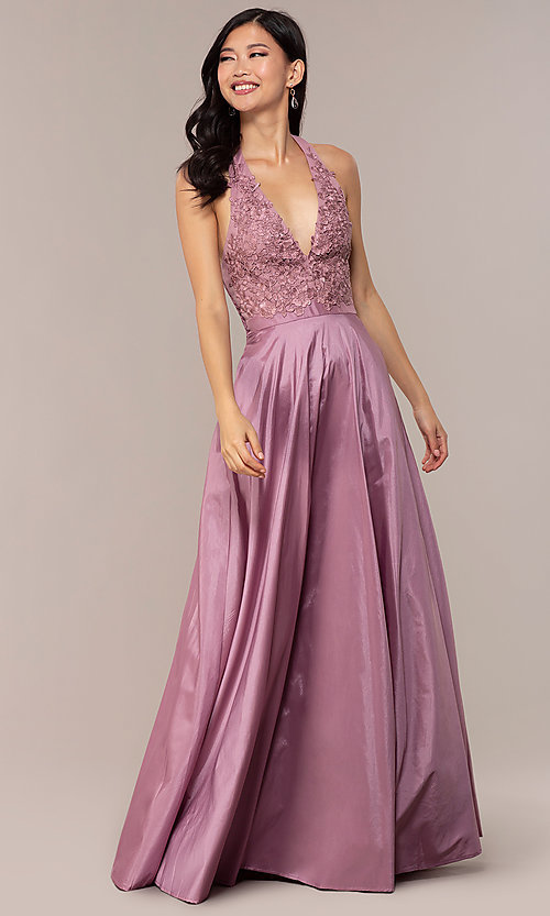 Image of lace-bodice halter long prom dress with pockets. Style: LP-PL-25876 Detail Image 4