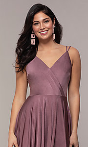 Image of high-low formal dress with double spaghetti straps. Style: LP-PL-27891 Detail Image 1