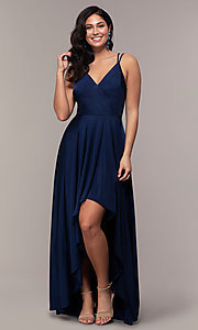 Image of high-low formal dress with double spaghetti straps. Style: LP-PL-27891 Detail Image 4