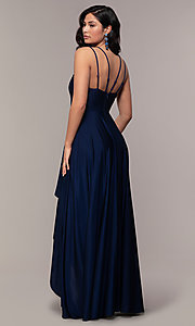 Image of high-low formal dress with double spaghetti straps. Style: LP-PL-27891 Detail Image 5
