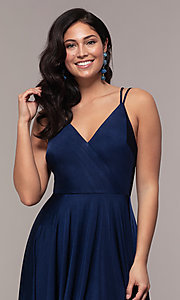 Image of high-low formal dress with double spaghetti straps. Style: LP-PL-27891 Detail Image 6