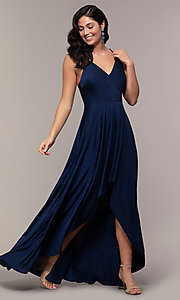 Image of high-low formal dress with double spaghetti straps. Style: LP-PL-27891 Detail Image 3
