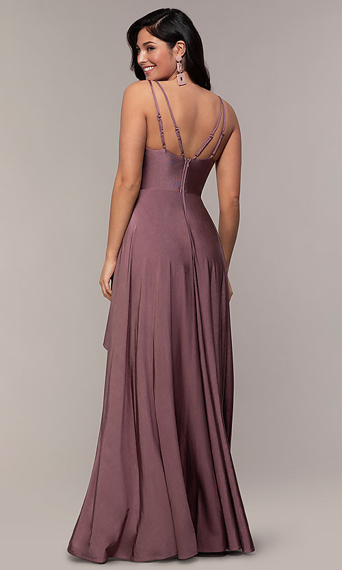 Image of high-low formal dress with double spaghetti straps. Style: LP-PL-27891 Back Image