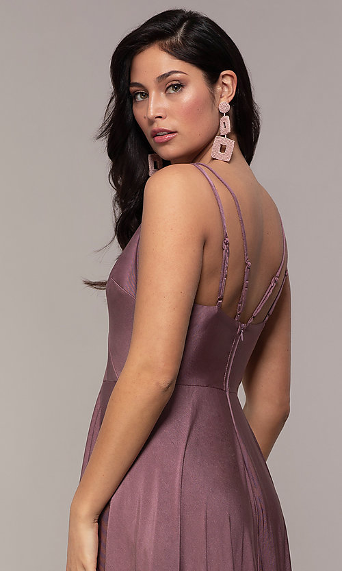 Image of high-low formal dress with double spaghetti straps. Style: LP-PL-27891 Detail Image 2