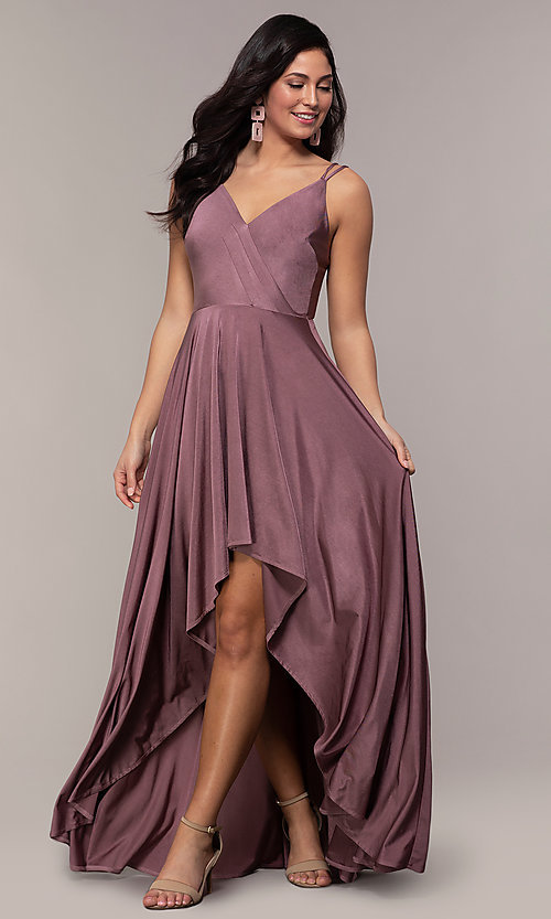 Image of high-low formal dress with double spaghetti straps. Style: LP-PL-27891 Front Image