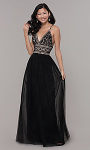 Image of long tulle prom dress with crocheted lace bodice. Style: LP-PL-27892 Detail Image 3