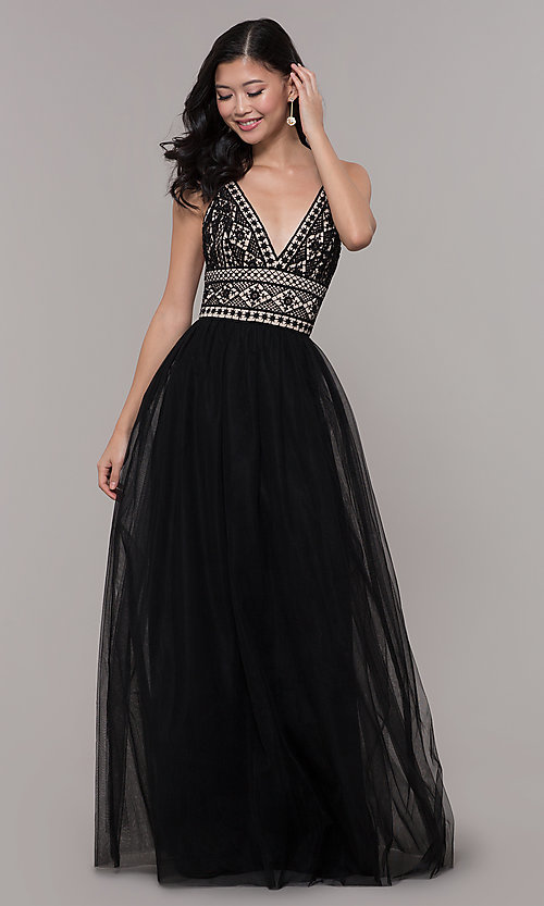 Image of long tulle prom dress with crocheted lace bodice. Style: LP-PL-27892 Front Image