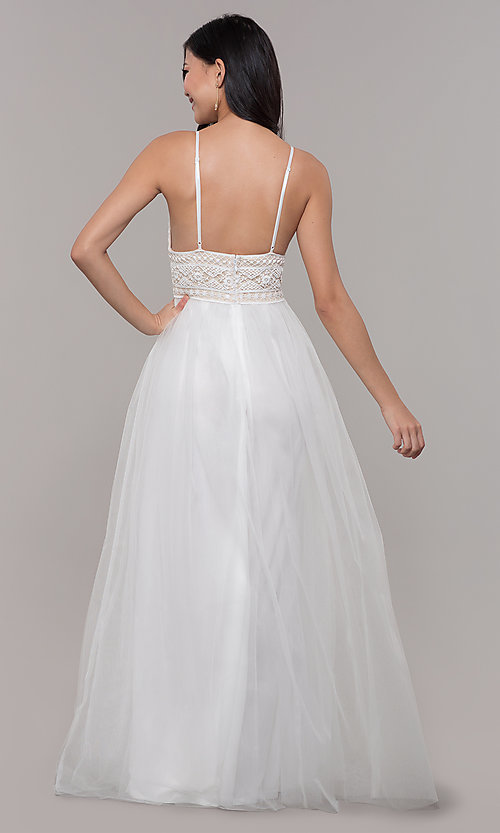 Image of long tulle prom dress with crocheted lace bodice. Style: LP-PL-27892 Back Image