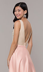 Image of sequin-bodice long prom dress in blush pink. Style: LP-PL-25772 Detail Image 2
