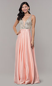 Image of sequin-bodice long prom dress in blush pink. Style: LP-PL-25772 Detail Image 3