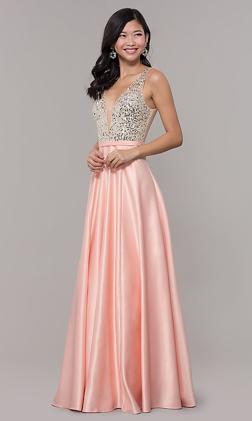 Image of sequin-bodice long prom dress in blush pink. Style: LP-PL-25772 Front Image