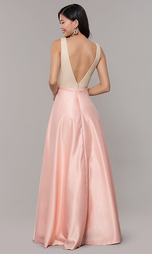 Image of sequin-bodice long prom dress in blush pink. Style: LP-PL-25772 Back Image