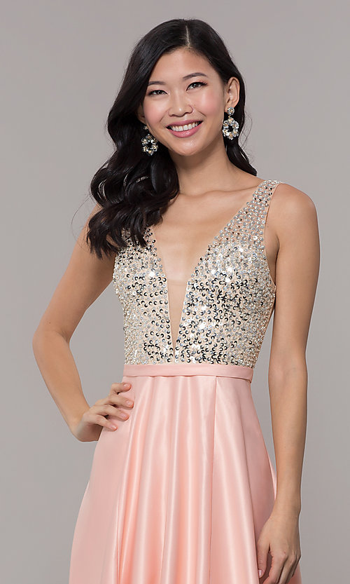 Image of sequin-bodice long prom dress in blush pink. Style: LP-PL-25772 Detail Image 1